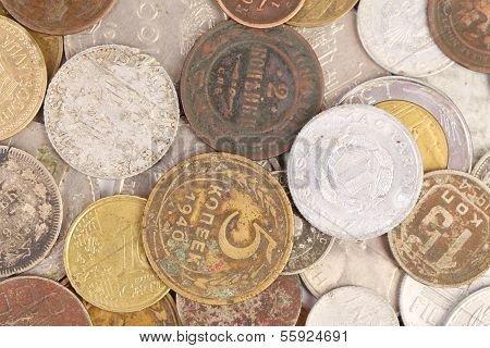 Background of old coins. Close up.