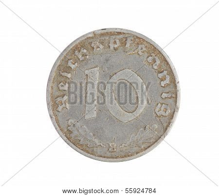 German 10 coin isolated on white. Front.