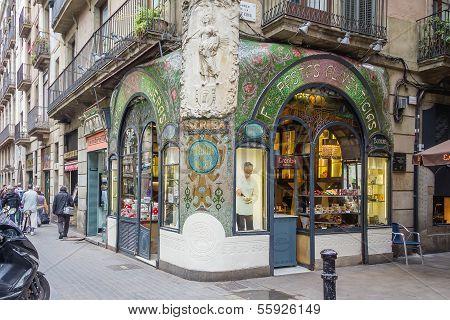 Antique pastry shop in Ramblas street, Barcelona