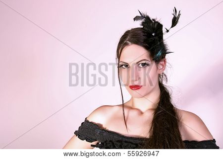 Beautiful fashion model, retro style