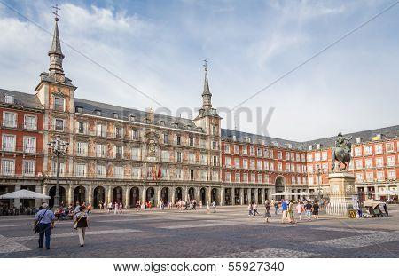 Central square of Plaza Mayor, in Madrid, Spain