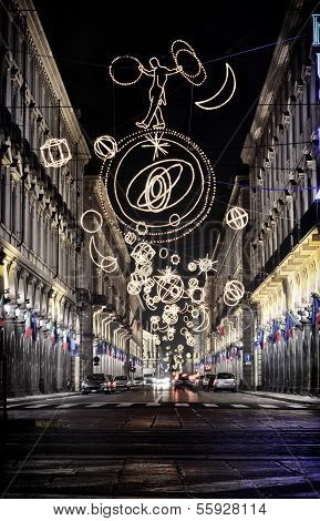 Via Roma In Turin, Italy, Lit Up By Christmas Lights