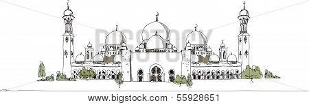 United Arab Emirates mosque, artistic sketch background