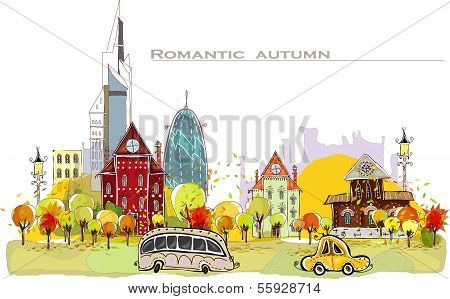 Autumn in the city illustration