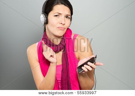 Beautiful Vivacious Woman Listening To Music