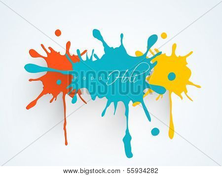 Indian color festival Holi background with colorful splash and stylish text Holi on blue background.