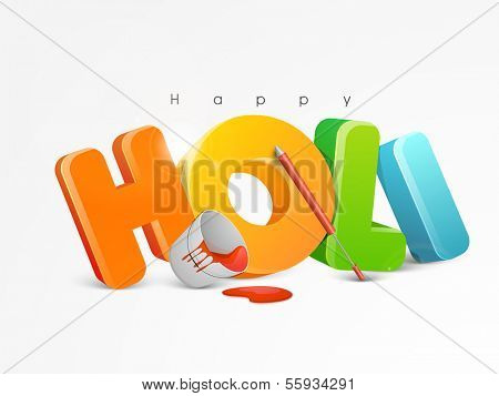 Indian color festival Holi background with stylish glossy text and buckets with full of colors and pichkari on grey background.