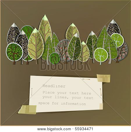 abstract forest made of paper stickers