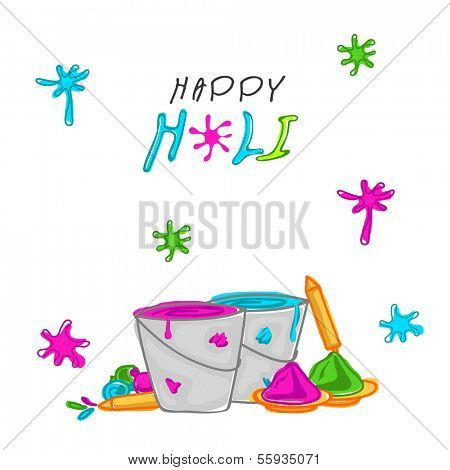 Indian festival Happy Holi celebrations with illustration of buckets with full of colors, pichkari ( color gun) and stylish text on abstract background.