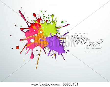 Indian festival Happy Holi celebration concept with colors splash on grey background.