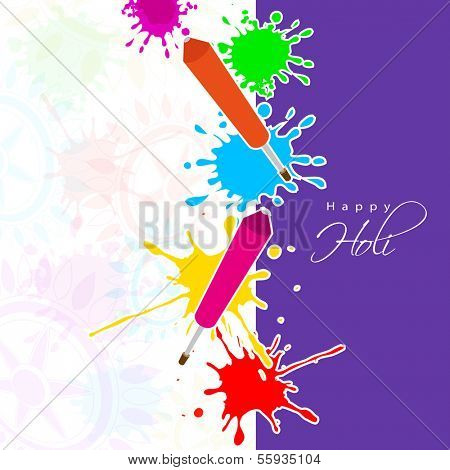 Indian festival Happy Holi celebrations with colors splash and pichkari (color guns) on seamless floral decorated background.
