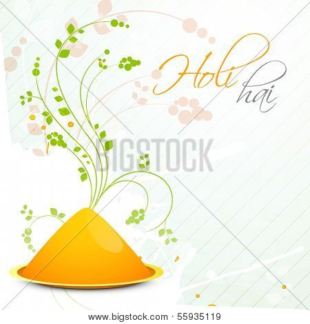 Indian color festival Holi celebration concept with color on floral decorated background and stylish text Holi Hai.