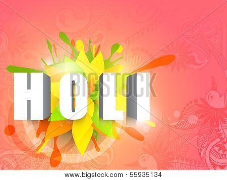 Indian color festival Holi background with stylish text on colour splash background.