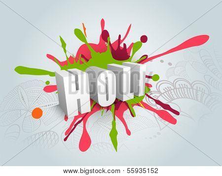 Indian color festival Holi celebration concept with stylish 3D text Holi on grungy colours splash background.