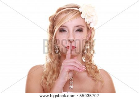 Wadding Day. Bride Showing Hand Silence Sign