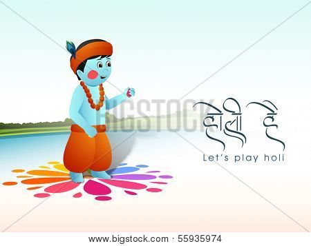 Hindu mythology Lord Krishna playing colors on occasion of Indian festival Happy Holi with stylish text Holi Hai on nature background.
