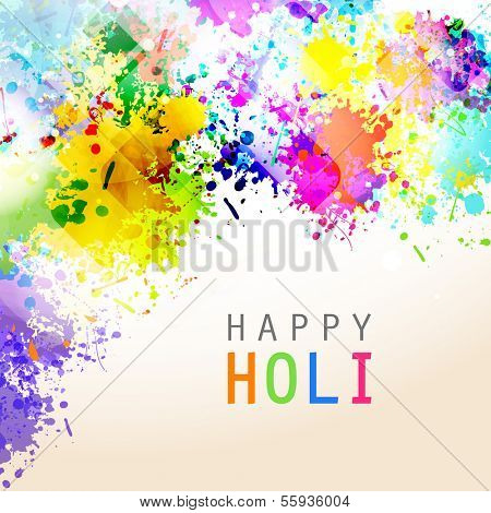 Indian festival Happy Holi celebrations with colors splash on abstract background.