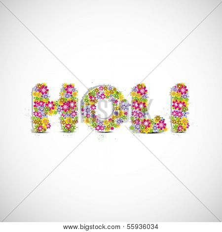 Indian festival Happy Holi celebration concept with beautiful colors decorated text Holi on grey background.
