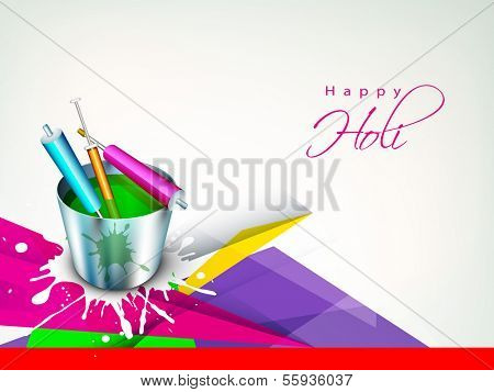 Indian festival Happy Holi celebration concept with buckets with full of colors and pichkari on abstract background.