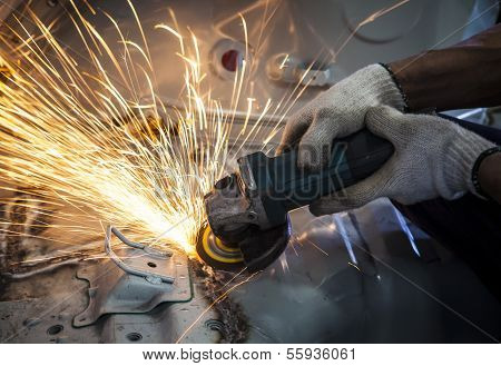 Worker Hand Working By Industry Tool Cutting Steel With Split Fire Use For Industrial Manufacturing