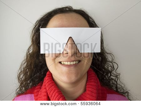 Smiling Woman With Paper Glasses