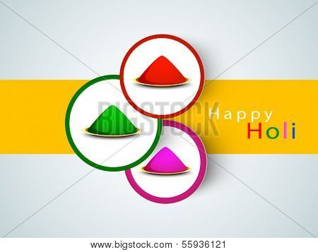 Indian festival of colors, Holi stickers, tags or labels decorated with gulal (dry colors) on yellow and grey background.