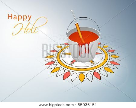 Indian festival Happy Holi celebration concept with bucket with full of colors, pichkari on beautiful floral (rangoli) decorated background.