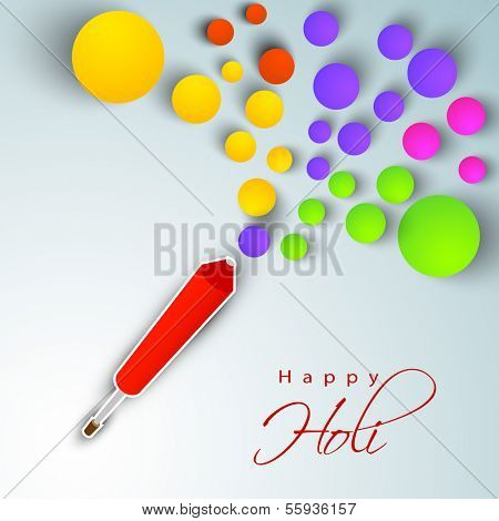 Creative artwork  for Indian festival Happy Holi celebration with colors in circle paper shape coming out from pichkari (color gun).