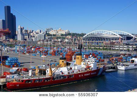 Us Coast Guard Ship On Seattle Waterfront