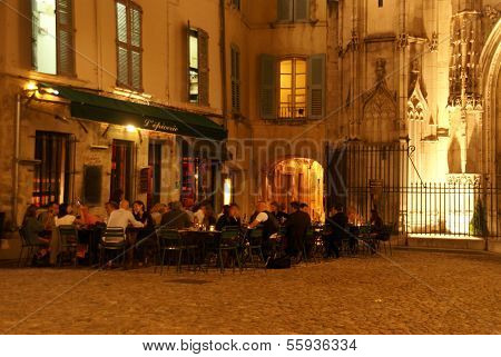 Casual Diners Enjoy An Evening Meal