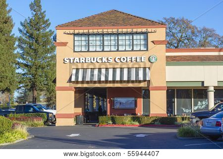 Sacramento, Usa - December 21:  Starbucks Shop On December 21, 2013 In Sacramento, California.