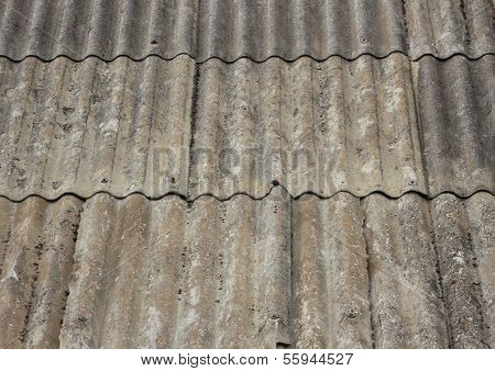 Old Worn Asbestos Roof On Small Shelter