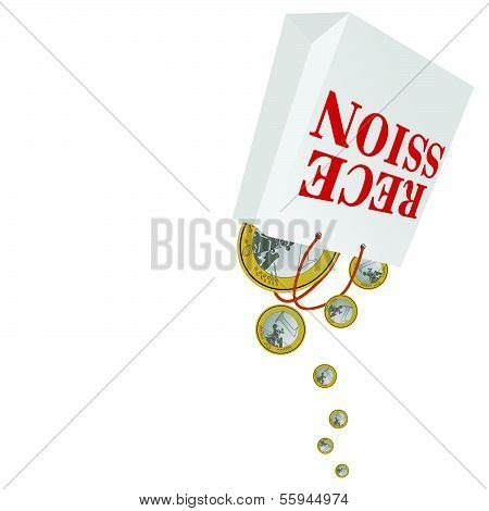 Recession With Euro Color Vector Illustration