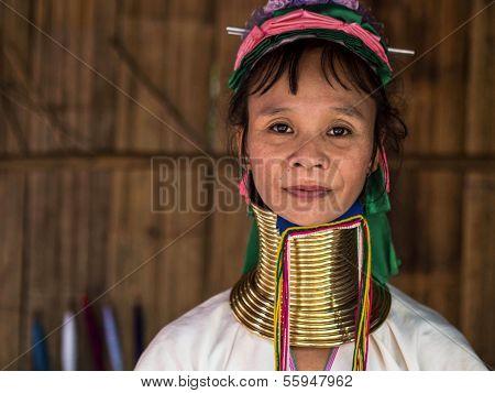 Karen Long Neck Woman in Hill Tribe Village