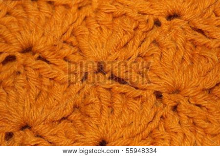 Gold Acrylic Crochet Yarn Fabric Background