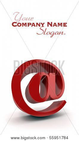 3D rendering of the at symbol in red on a white background