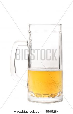 Half-drank beer mug isolated on white