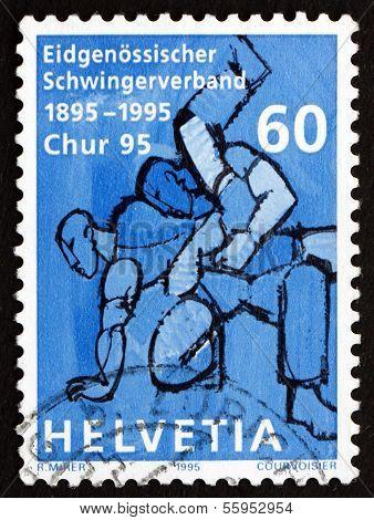 Postage Stamp Switzerland 1995 Wrestler