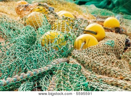 Colorful fishing ropes and floats