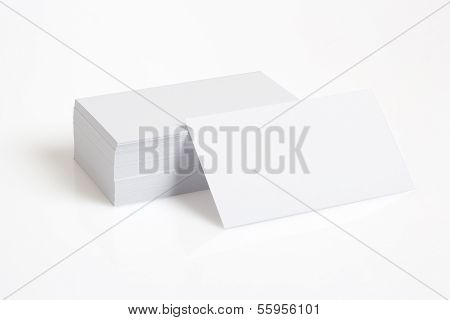 Stack Of Blank White Businesscards On White Background