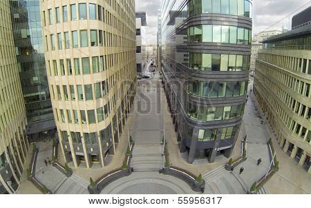 MOSCOW, RUSSIA - NOV 02, 2013: (view from unmanned quadrocopter) White Square Office Center. White Square Office Center is located in center of city and was built in 2007.