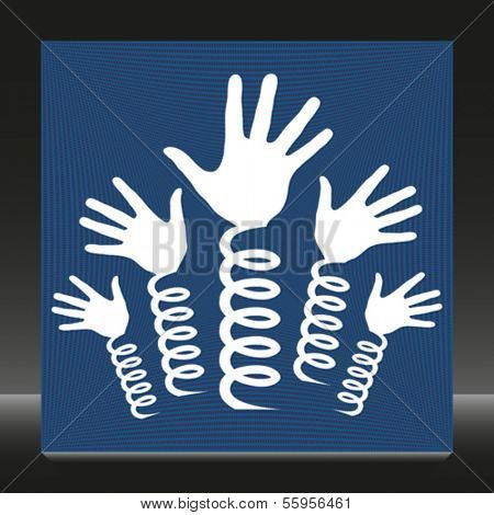 Hands on springs vector.