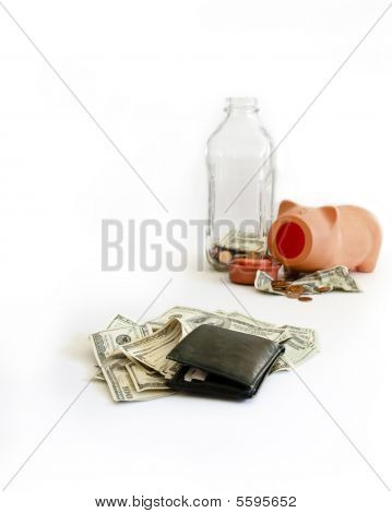 Rich Versus Poor, Isolated On White, Wealthy Wallet With Empty Savings
