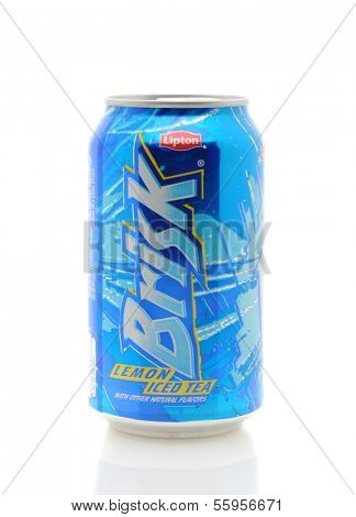 IRVINE, CA - JANUARY 11, 2013: A 12 ounce can of Brisk Lemon Ice Tea. Iced tea makes up about 85% of all tea consumed in the United States.