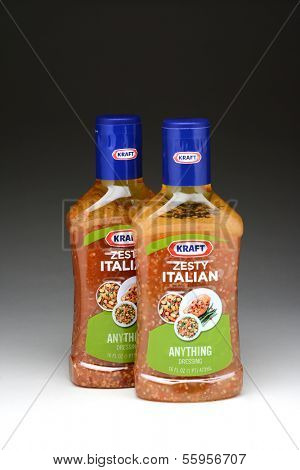 IRVINE, CA - JANUARY 11, 2013: Two 16 oz. bottles of Kraft Zesty Italian Anything Dressing. Kraft Foods has 27 brands with sales in excess of $100 million annually.