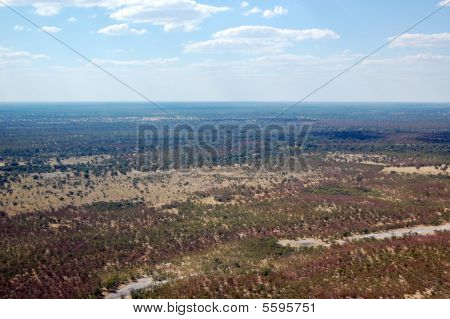 Aerial view of African landscape
