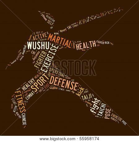 Wushu Word Cloud With Brown Wordings