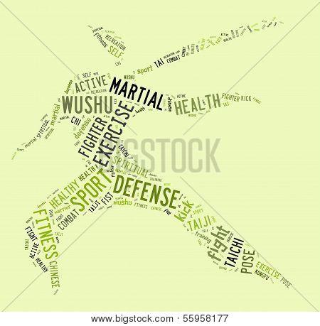 Wushu Word Cloud With Green Wordings