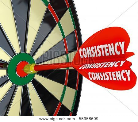 Consistency Dart Board Repeat Reliable Dependable Score Aim