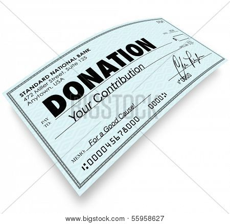Donation Check Money Contribution to Charity Non-Profit Group